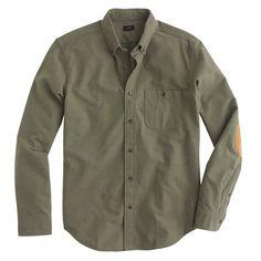 Slim heathered chamois elbow-patch shirt