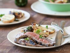 Recipe for paleo Grilled Flank Steak with cilantro balsamic marinade.