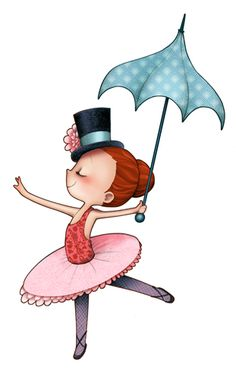 Kai Fine Art is an art website, shows painting and illustration works all over the world. Umbrella Art, Under My Umbrella, Children's Book Illustration, Illustrations, Illustration Mignonne, Art Mignon, Circus Party, Girl Dancing, Digi Stamps