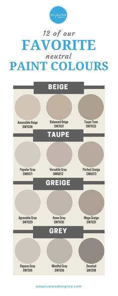 Neutrals are HOT, not bland! From Beige to Gray, learn which neutral paint colours are our favorite designer choices for your home's interior decor.   @oneplustwodesignco