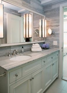love the offcenter sink with long vanity and one big mirror