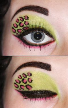 neon animal print + lots of eye makeup = fierce look made for 80s flashback party time
