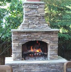ideas outdoor patio diy stones living spaces for 2019 Outdoor Fireplace Kits, Outside Fireplace, Backyard Fireplace, Fireplace Ideas, Brick Fireplace, Rustic Outdoor Fireplaces, Fireplace Candles, Propane Fireplace, Linear Fireplace