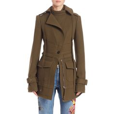 Alexander McQueen Double Felt Asymmetrical Military Jacket ($4,065) ❤ liked on Polyvore featuring outerwear, jackets, apparel & accessories, military green, military style jacket, field jacket, military army jacket, military jacket and asymmetrical jackets