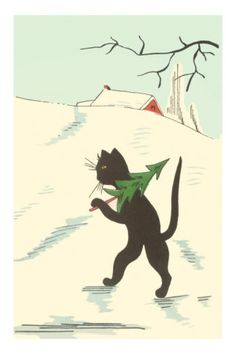 Black Cartoon Cat with Small Christmas Tree Posters at AllPosters.com