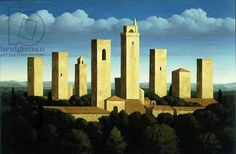 Towers San Gimigniano, Blue Sky, 1996 (oil on canvas) Renny Tait