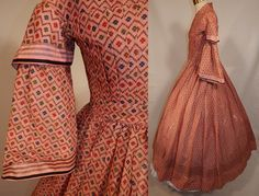 Victorian 1850 Pink Wool Challis Hoop Skirt Dress | eBay