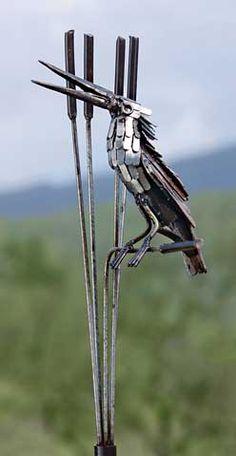 metal bird with cattails garden ornament #garden #gardening