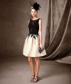 CAILEN is a short party dress in mikado with tulle and lace details. A two-tone short dress, only from Pronovias. Lace Party Dresses, Dresses Uk, Bridal Dresses, Evening Dresses, Short Dresses, Bridesmaid Dresses, Prom Dresses, Formal Dresses, I Dress