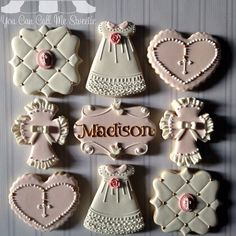 First Communion Cookies Fancy Cookies, Iced Cookies, Custom Cookies, Cupcake Cookies, Sugar Cookies, Bautizo Cakes, Cake Paris, Christening Cookies, Religious Cakes
