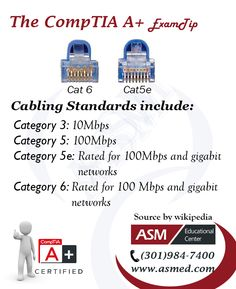 """CompTIA A+Training / Tip - Cabling Standards. For more information to get certified for CompTIA A+ Please visit: <a href=""""http://www.asmed.com/comptia-a/"""" rel=""""nofollow"""" target=""""_blank"""">www.asmed.com/...</a>"""