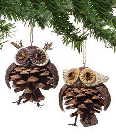 Pinecone Owl Ornaments