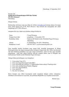 Contoh Surat Lamaran Kerja PLN - ben jobs