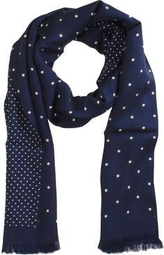 Barneys New York Polka Dot Tubular Scarf in Blue for Men (navy) - Lyst   #menswear #menstyle Follow my SS13 board!