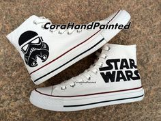 Converse Custom Painted Shoes by CoraHandPainted, $82.99 for the #geek in you. #StarWars #cooletsyfinds