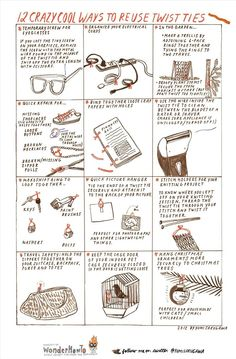 12 Crazy Cool Ways to Reuse Twist Ties « The Secret Yumiverse (a 13th way to re-use them is to cut them in half and use them for sealing small bags like cracker sleeves and baggies.