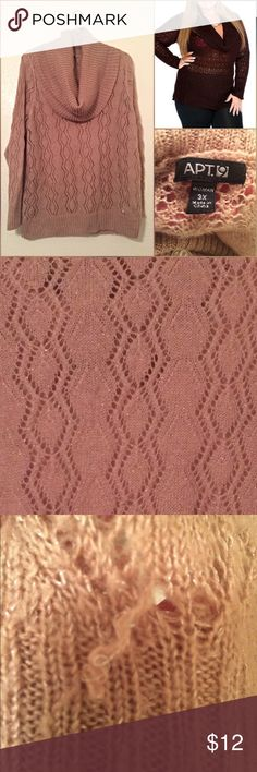 Plus size 3x cowl neck sweater rose pink open knit Open knit cowl neck sweater! Rose pink color with small strands of shimmer. One snag near the hem otherwise perfect condition!! Make me an offer! Size 3x! Apt. 9 Sweaters Cowl & Turtlenecks