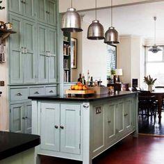 Simple Victorian Kitchen. Love the pendant lights.
