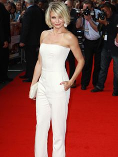 Loving Cameron Diaz in this white, strapless jumpsuit by Stella McCartney.