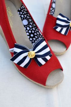 "Black and White Stripe ""Perky"" Anchor Bow Shoe Clips $17"