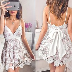 Short Graduation Dresses, Lace Homecoming Dresses, Hoco Dresses, Sexy Dresses, Cute Dresses, Fashion Dresses, Cocktail Gowns, Dress With Bow, Party Dress