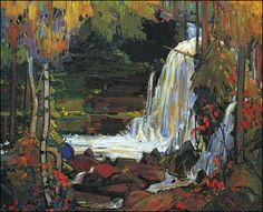 "dappledwithshadow: "" Woodland Waterfall Tom Thomson McMichael Canadian Art Collection (Canada) Painting - oil on canvas Height: cm in. Emily Carr, Canada Landscape, Landscape Art, Landscape Paintings, Oil Paintings, Acrylic Paintings, Group Of Seven Artists, Group Of Seven Paintings, Canadian Painters"