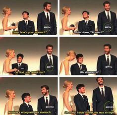 Jen's concern for Liam's stomach:   Jennifer Lawrence, Josh Hutcherson, And Liam Hemsworth Prove True Friendship Love Exists