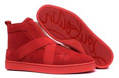 Christian Louboutin Red Suede Cross Strap Sneakers