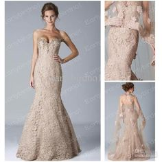 Wholesale 2013 Nude Lace Wedding Dresses Sexy New Strapless Crystals Lace Bolero Jacket Mermaid Bridal Gown, Free shipping, $188.16-199.36/Piece | DHgate