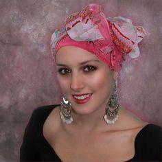 Bollywood Pink Turban Head Wrap Alopecia Scarf Chemo by TurbanDiva, $44.95