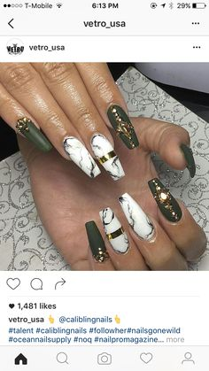 Marble coffin olive nail matte