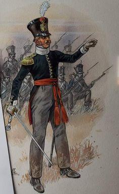 Officier d'infanterie de ligne Hollandaise 1815 Waterloo 1815, Battle Of Waterloo, Army Uniform, Military Uniforms, Nassau, Napoleon French, Dutch Republic, French Army, Napoleonic Wars