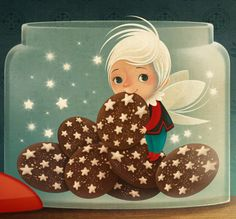 Cookies, fairy, jar, stars, by bordicchia