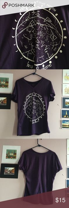 Purple tee Tempted by the moon, guided by the sun tee. Worn once. Should fit a s/m. Tempted by the moon, guided by the sun tee. Should fit a s/m.  Bust measures 42.5 inches, shoulder to sleeve is 10.2 inches and length is 25.6 inches. Tops Tees - Short Sleeve