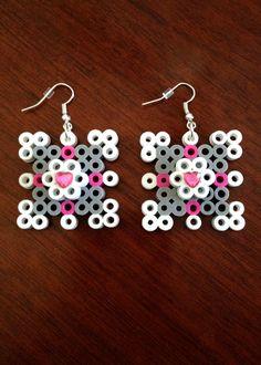 Companion Cube Inspired Earring Set perler beads by EBPerler