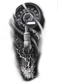 Biker Tattoos Designs, Half Sleeve Tattoos Designs, Cool Tattoo Drawings, Tattoo Sketches, Car Tattoos, Tattoos For Guys, Mechanika, Wrench Tattoo, Harley Tattoos