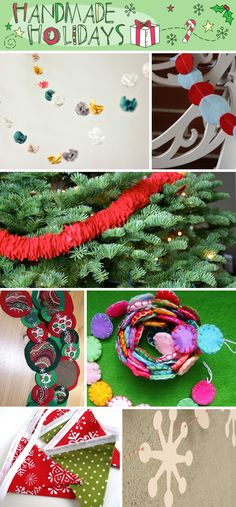 DIY Garlands & Bunting. Festive garlands and cheerful bunting, for your mantel, your railing, your tree or your window. Here are some simple tutorials, that can add a lot of impact to your holiday decor.