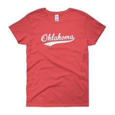 Vintage Oklahoma OK Women's T-Shirt with Script Tail Design - JimShorts