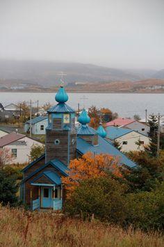 Three Saints Russian Orthodox Church, Old Harbor, Kodiak Island, Alaska.