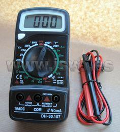 Multímetro digital Electro DH Mod.: 60.107 con pantalla LCD, puntas de prueba y protección de sobrecargas. www.jsvo.es
