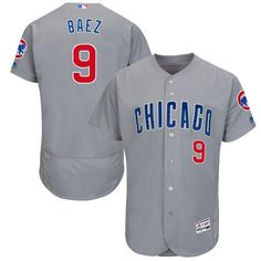 bff6f9e93 Men s Chicago Cubs Javier Baez Majestic Gray Road Authentic Collection Flex  Base Player Jersey