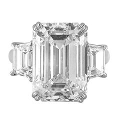 13.07 Carat Emerald Cut Diamond Platinum Ring | From a unique collection of vintage three-stone rings at https://www.1stdibs.com/jewelry/rings/three-stone-rings/