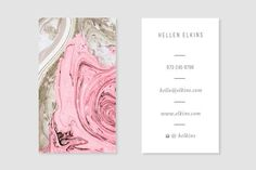 Nude + Pink Marble Business Card - Business Cards