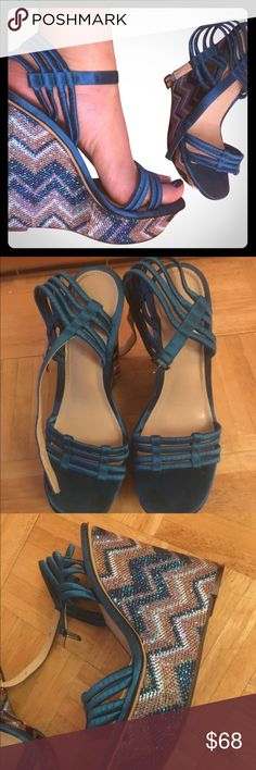 Never worn Enzo Angiolini silk strp metallic wedge Never worn. Excellent condition. No damages no signs of wear. Turquoise wrapped strap sandals with Missoni print metallic thread covered wedge. Rubber bottom soles with no scuffs or wear signs. Leather lined inside, very well made and comfortable. Great cruise wear or summer piece. Perfect for cruise-wear pool party with bathing suit. Dress up a solid print mini or shorts/jeans and a tank with killer earrings or statement necklace. Enzo…