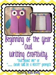 """Cute back to school writing craftivity ...  """"Owl About Me"""" or """"___ grade will be a HOOT!"""""""