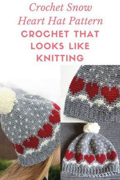 Crochet Beanie Ideas Crochet a Snow Heart Hat Pattern a hat that looks knitted - Crochet a Snow heart hat pattern that looks like it was knitted. knitting and crochet hat Crochet Adult Hat, Crochet Beanie Hat, Knit Or Crochet, Crochet Scarves, Crochet For Kids, Easy Crochet, Crochet Clothes, Crochet Stitch, Free Crochet