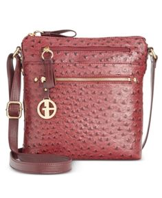 Giani Bernini North South Ostrich Printed Crossbody, Only at Macy's - Purple