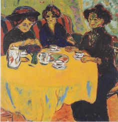 iCanvas Coffee Drinking Women, 1907 Gallery Wrapped Canvas Art Print by Ernst Ludwig Kirchner Davos, Ernst Ludwig Kirchner, Kandinsky, Canvas Artwork, Canvas Prints, Karl Schmidt Rottluff, Expressionist Artists, Museum, Galerie D'art