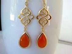 Clementine  Orange EarringsDrop Dangle Glass by LaLaCrystal, $28.50