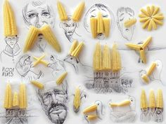 Victor Nune's doodled faces are amusing and at the same they impress with the simplicity